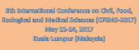 8th International Conference on Civil, Food, Ecological and Medical Sciences (CFEMS-2017)