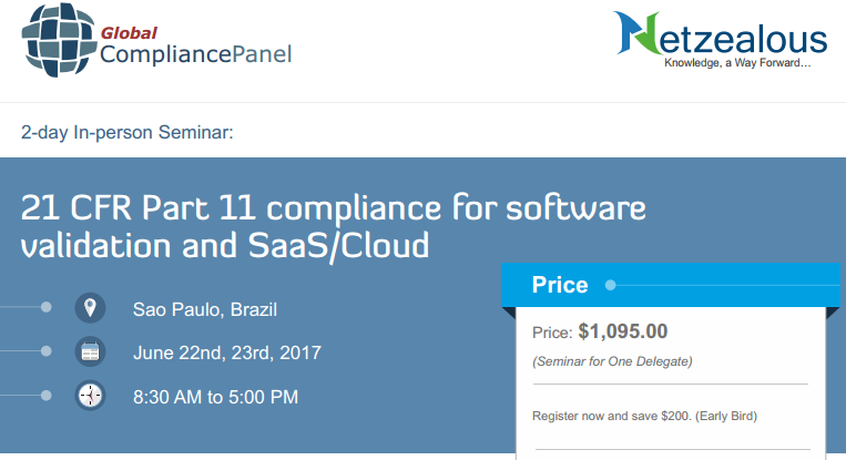 21 CFR Part 11 compliance for software validation and SaaS/Cloud - Brazil, Sao Paulo, Brazil