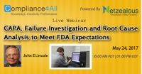 Root Cause Analysis to Meet FDA Expectations